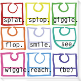 Wiggle Giggle Bibs Stretched Canvas Print by  Koconis