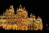 Mysore Palace in India Illuminated at Night Photographic Print by  flocu
