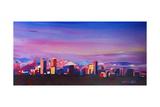 Denver Colorado Skyline with luminous Rocky Mounta Posters by Markus Bleichner