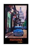 Poster Havana Cuba Street Scene Oldtimer Vintage Giclee Print by Markus Bleichner