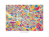 Glasgow Street Map Photographic Print by Michael Tompsett