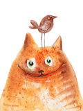Cat with Bird Art by  wegener17