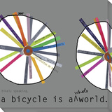 A Bicycle is a Whole World Stretched Canvas Print by  Koconis