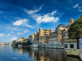 Romantic India Luxury Tourism Concept Background - Udaipur City Palace and Lake Pichola. Udaipur, R Photographic Print by  f9photos