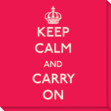 Keep Calm and Carry On Stretched Canvas Print by  Graphique