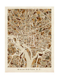 Washington DC Street Map Print by Michael Tompsett