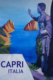 Capri view with Ancient Roman Empire Statue Poster Giclee Print by Markus Bleichner