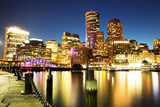 Boston Skyline with Financial District and Boston Harbor Photographic Print by Roman Slavik
