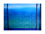 Romantic Seaview Balcony in the Mediterranean Giclee Print by Markus Bleichner