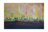 Modern Munich Skyline Silhouette in Neon Giclee Print by Martina Bleichner