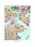 Boston Massachusetts City Street Map Photographic Print by Michael Tompsett