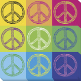 Peace Pop Art Stretched Canvas Print by  GdF
