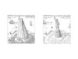 Statue of Liberty - Cartoon Premium Giclee Print by John O'brien