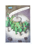 Doctors drinking at an operating table. - Cartoon Premium Giclee Print by John O'brien