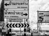 BW Infrared Road Sign Indicating Distance Thailand Photographic Print by Nelson Charette