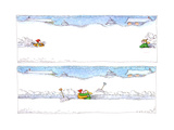 Shoveling Snow - Cartoon Premium Giclee Print by John O'brien