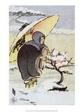 Little Pink Plum, 1913, Snowy Scene Prints by Helen Hyde