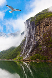 Waterfall in Geiranger Fjord Norway - Nature and Travel Background Photographic Print by  Nik_Sorokin