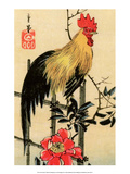 Rooster on Trellis for Climbing Rose, 1854 Art by Utagawa Hiroshige