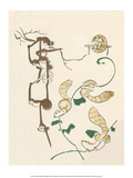 Japanese Drawing of Monkeys and Weasels Art by Kitao Masayoshi