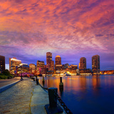 Boston Sunset Skyline from Fan Pier in Massachusetts USA Fotografiskt tryck av  holbox