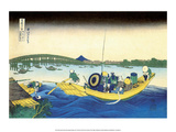 Sunset across the Ryogoku Bridge from Sumida River Print by Katsushika Hokusai