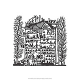 Folk Art Silhouette of House Prints