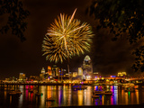 Firework on the River Photographic Print by Nelson Charette