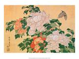 Peonies and Butterfly Art by Katsushika Hokusai