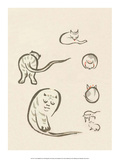 Japanese Drawing of Cats Poster by Kitao Masayoshi