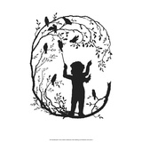 Silhouette of Angel Conducting Birds Chorus Print