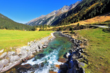 National Park Krimml Waterfalls in Austria. Headwaters of Waterfalls - a Narrow Fast Roiling River Photographic Print by  kavram