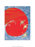 Japanese Textile Woodblock, Cranes Across Red Sun Poster