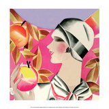 Art Deco Woman with Apples Print by Helen Dryden