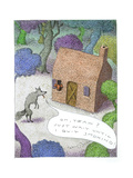 Wolf talking to pig about blowing his house down, - Cartoon Premium Giclee Print by John O'brien