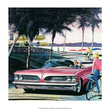 Pink Convertible by the Beach, Mid-Century Modern Car Ad Prints