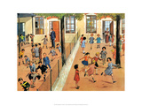 Vintage Classroom Poster -Girls & Boys Playground Prints