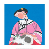 Chinese Folk Art - Girl Stroking Cat on her Lap Prints