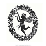 Silhouette of Fairy Angel in Flower Garland Prints