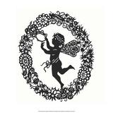 Silhouette of Fairy Angel in Flower Garland Prints