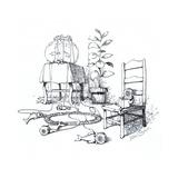 Fish wearing breathing apparatus outside of fish tank. - Cartoon Premium Giclee Print by John O'brien