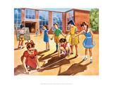 Vintage Classroom Poster - School Class Building Models Art