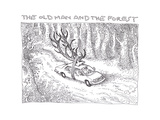 The Old Man and the Forest - Cartoon Premium Giclee Print by John O'brien