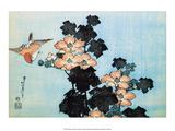 Katsushika Hokusai - Hibiscus and Sparrow Plakát