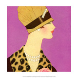 Art Deco Woman Wearing Pearl Necklace Prints by Helen Dryden