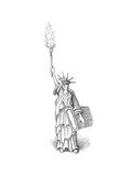Statue of Liberty holds torch - Cartoon Premium Giclee Print by John O'brien