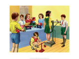Vintage Classroom Poster - School Playground, Shadows Prints
