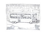 Bus driver - Cartoon Premium Giclee Print by John O'brien