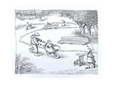Boy riding in wagon rather than stroller. - Cartoon Premium Giclee Print by John O'brien