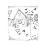 Bird feeder in shape of pie. - Cartoon Premium Giclee Print by John O'brien